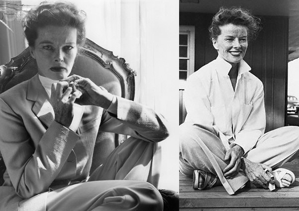 Katharine Hepburn wearing a suit and pants and shirt