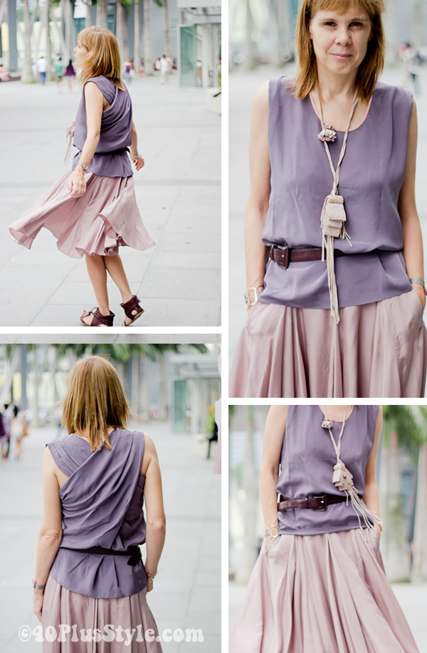 pink and purple silk max mara alldressedup