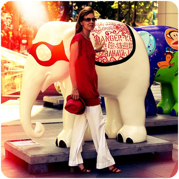Red Armani exchange dress, white kookai pants