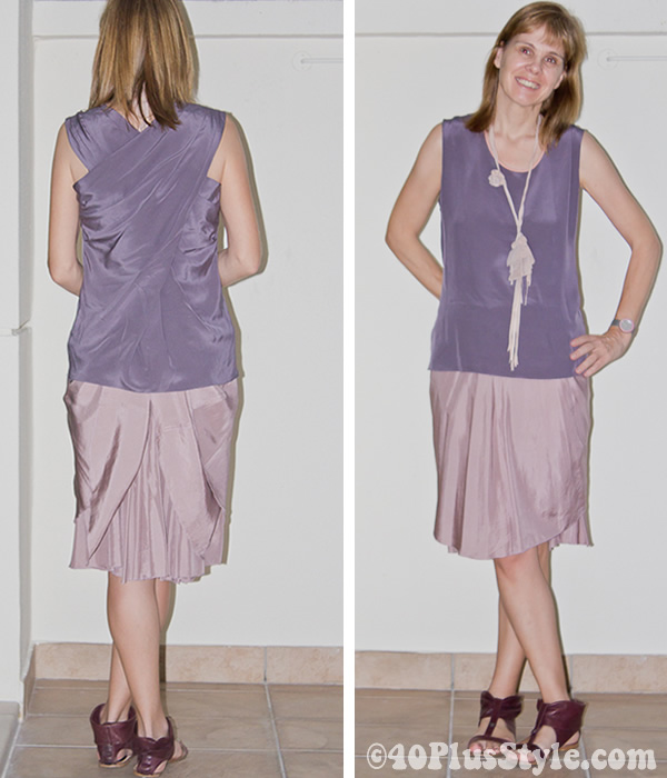 silk skirt from wide to pencil