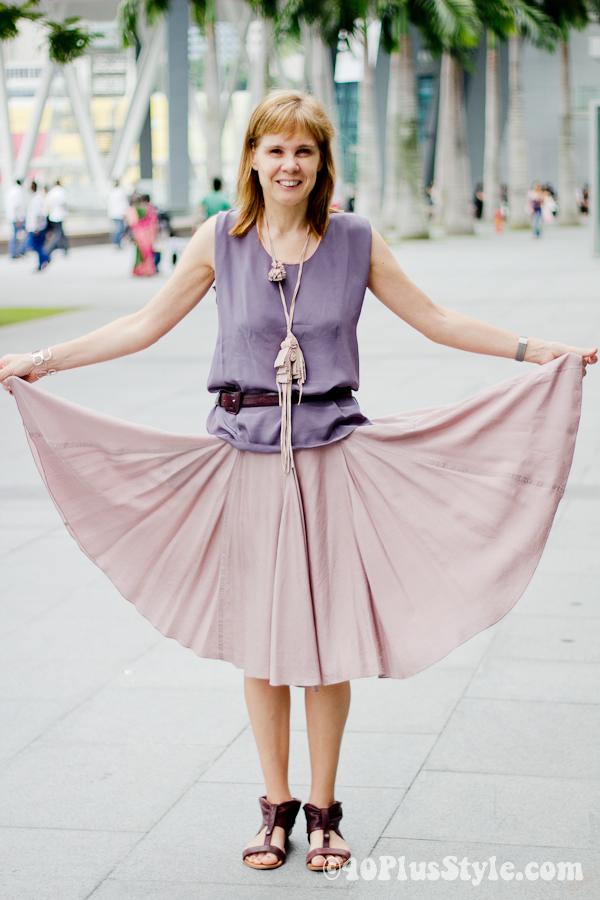 wide pink silk skirt from Max Mara