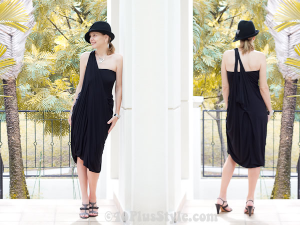 Black drape dress, great for women over 40