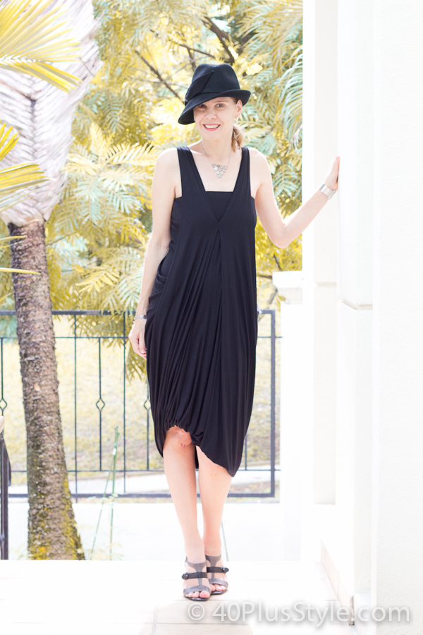 Black drape dress ideal for women over 40