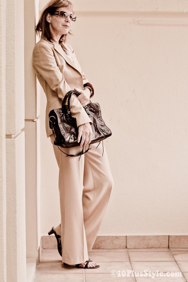 Camel pantsuit zara balenciaga bag