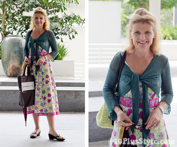 Colorful dress with a knitted cardigan | 40plusstyle.com