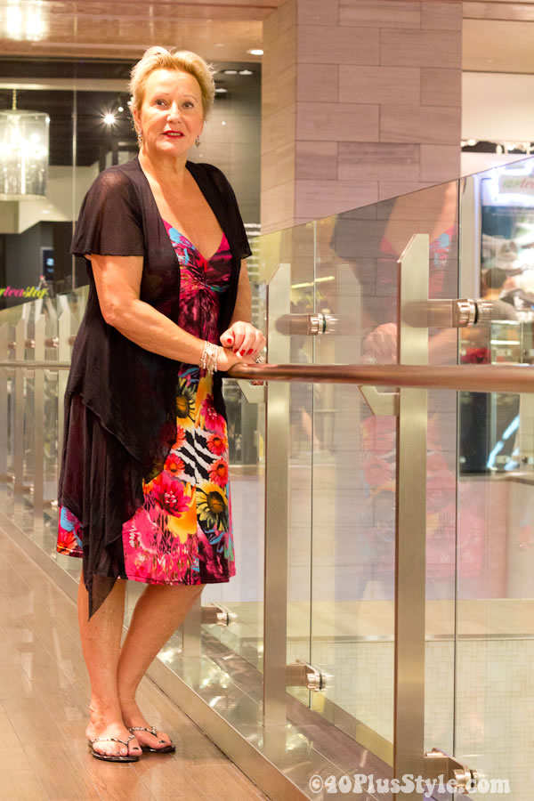 Colorful flower dress worn by over 40 woman