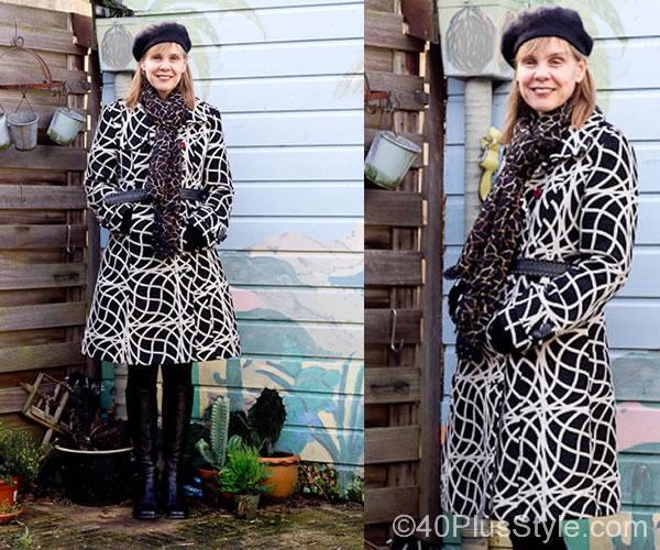 Desigual black and white winter coat