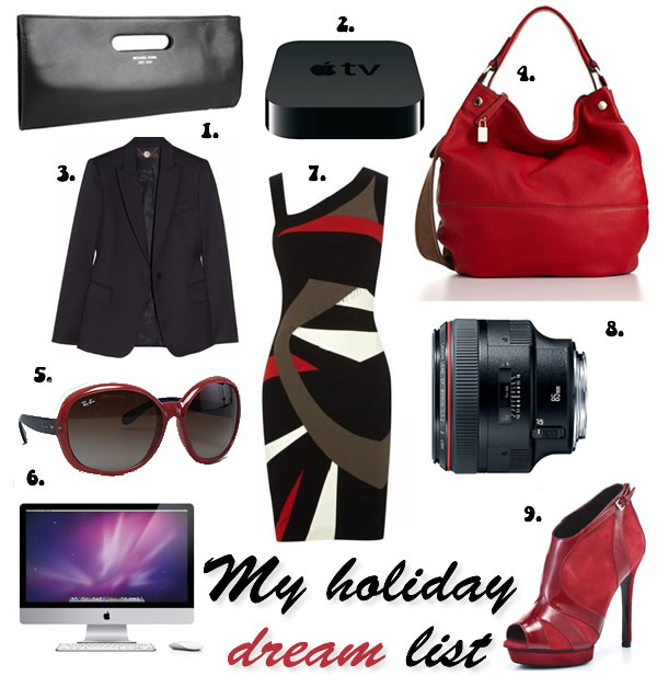 Holiday and christmas gift list full of black, red and white goodies and a bit of apple and canon too!