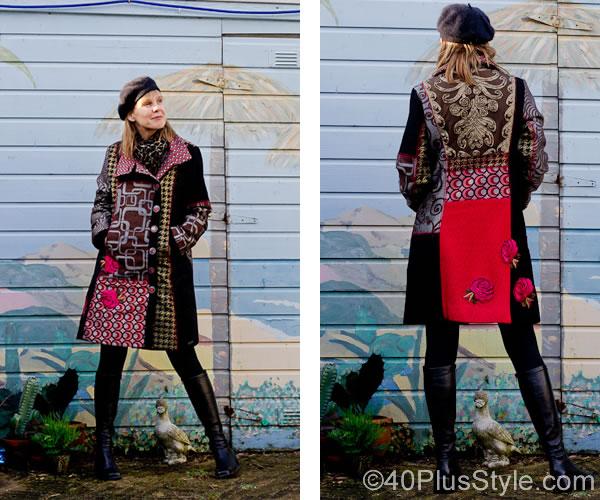 Winter pattern coat from desigual