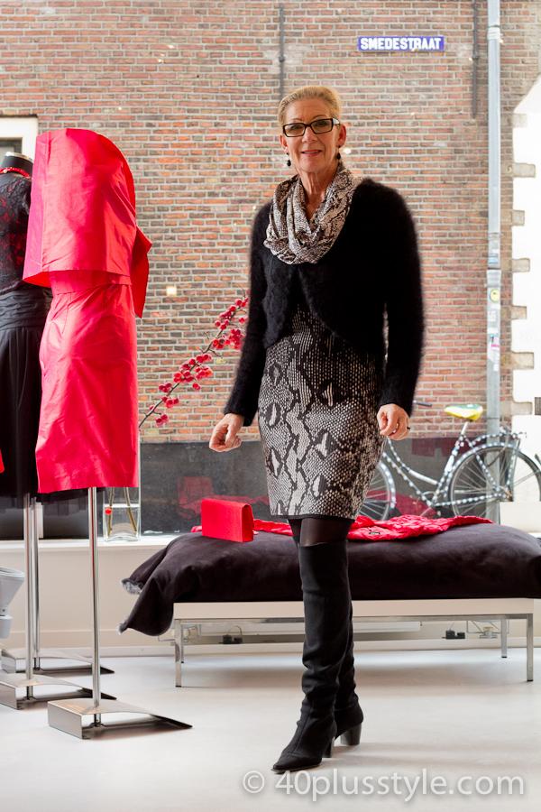 Black and white snake print dress | 40plusstyle.com