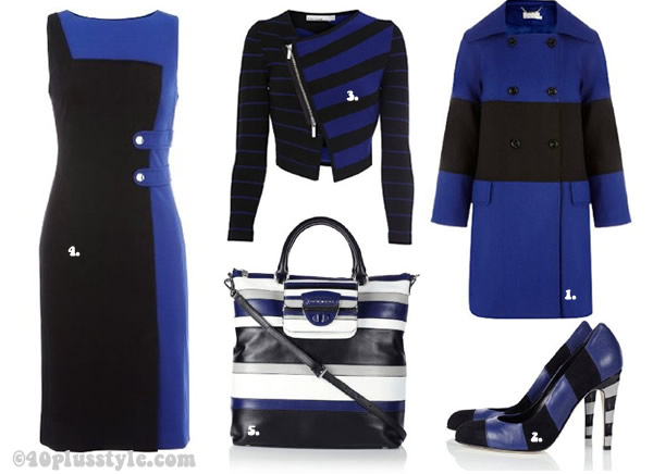 Karen Millen coat and dress in blue and cobalt graphical pattern