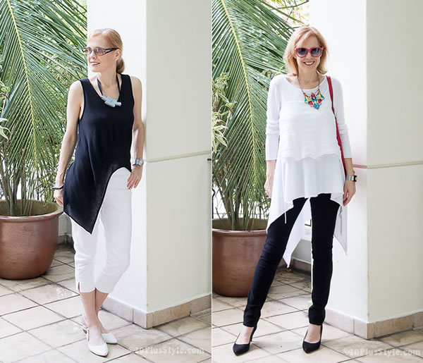 How to wear asymmetrical tops over 40 | 40plusstyle.com