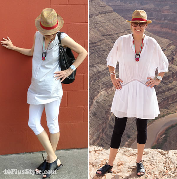 wearing leggings over 40 while traveling | 40plusstyle.com