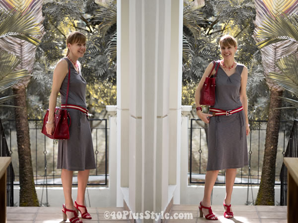 red bag, grey dress