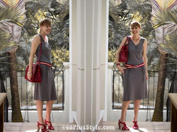 red bag, grey dress
