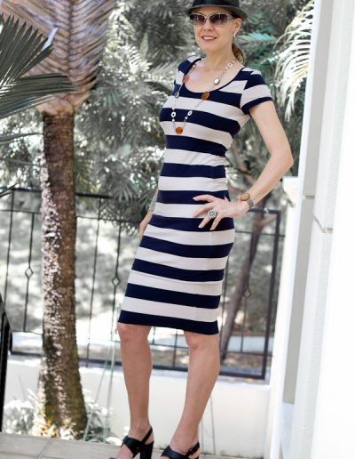 Navy and white stripes