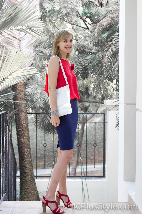 Red and blue outfit