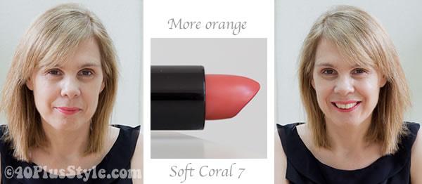 Coral orange lipstick