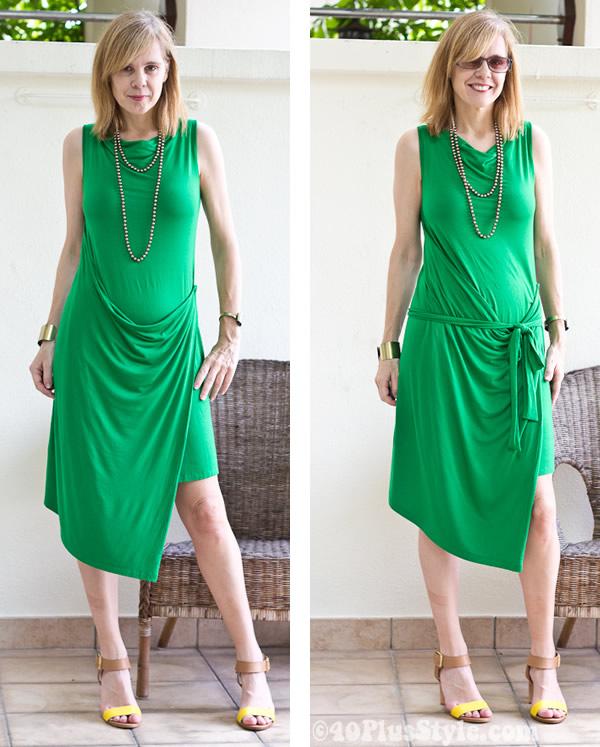 green drape dress
