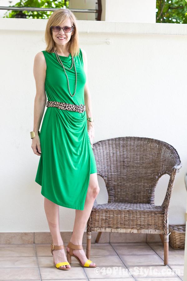 Green Sabrina Goh dress made in Singapore