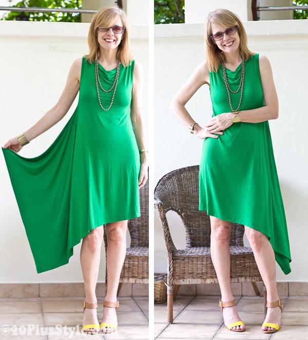 The bright green drape dress