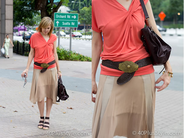 Orange camel and brown outfit