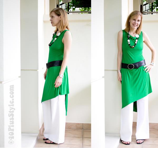 Green sabrina goh wrap dress with wide pants