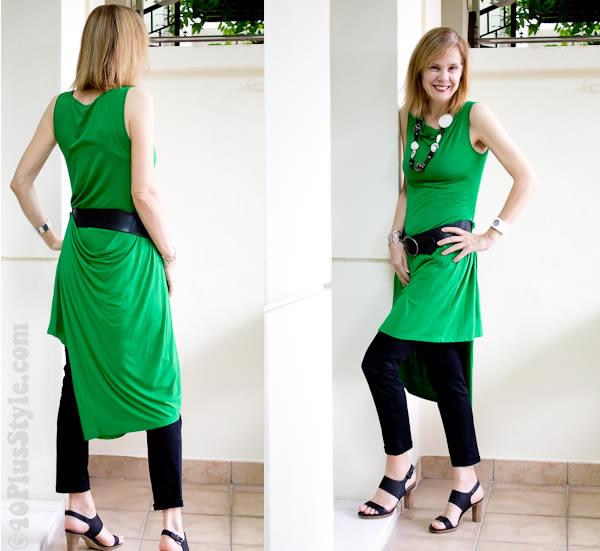 Wrap dress worn with capris