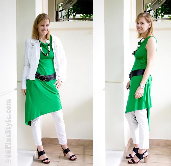 Green wrap dress worn with white