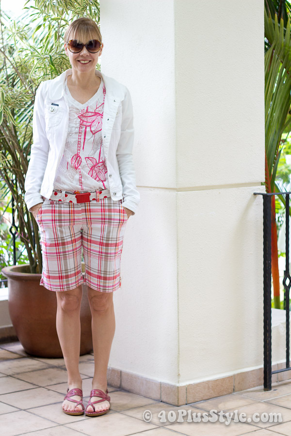 Pink striped bermudas