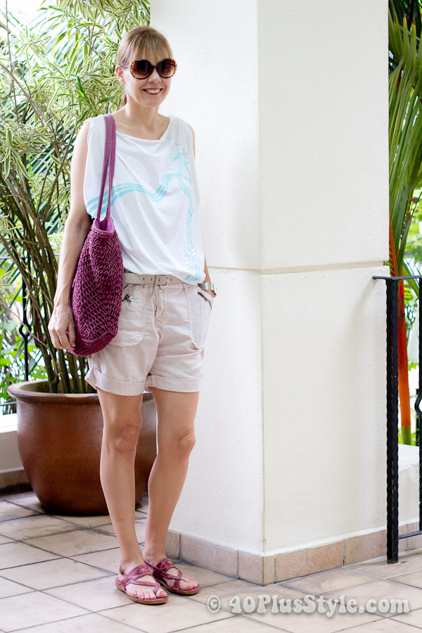 Shorts and wide top for the beach