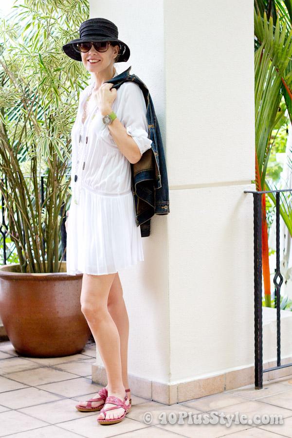 white mini dress and denim jacket