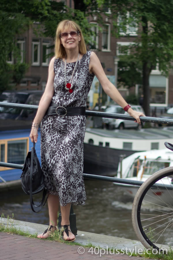 Dressing in a black and white animal print dress