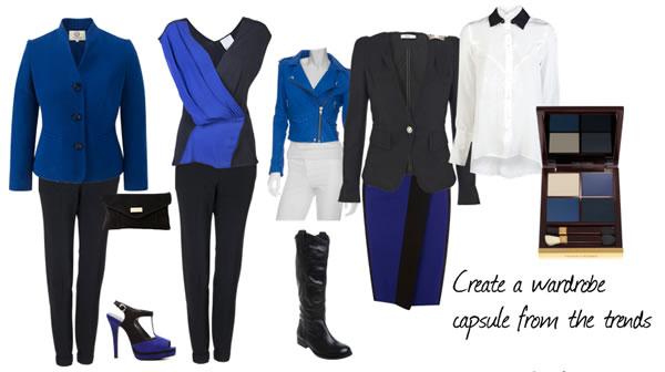 black and blue wardrobe capsule