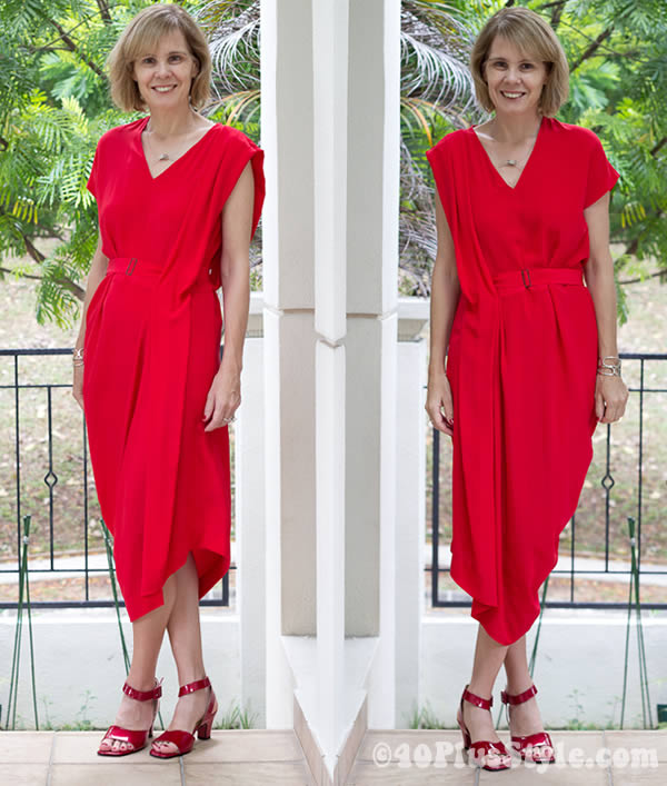 red calvin klein silk dress | 40plusstyle.com