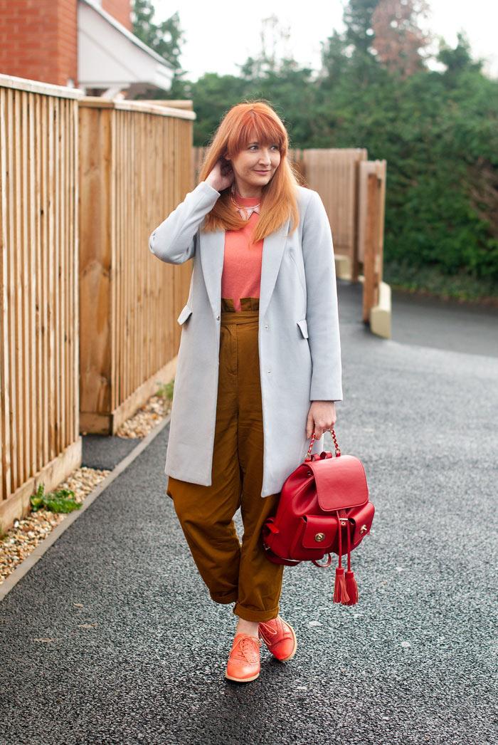 Catherine wearing gray long blazer   40plusstyle.com