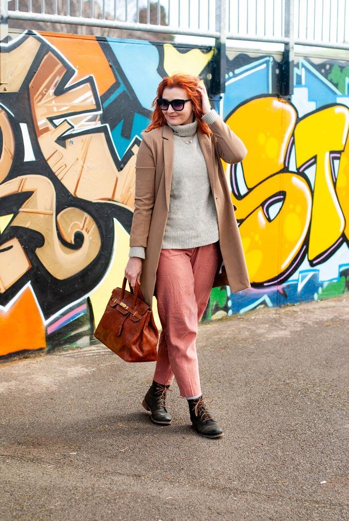 Catherine wearing turtleneck and coat   40plusstyle.com