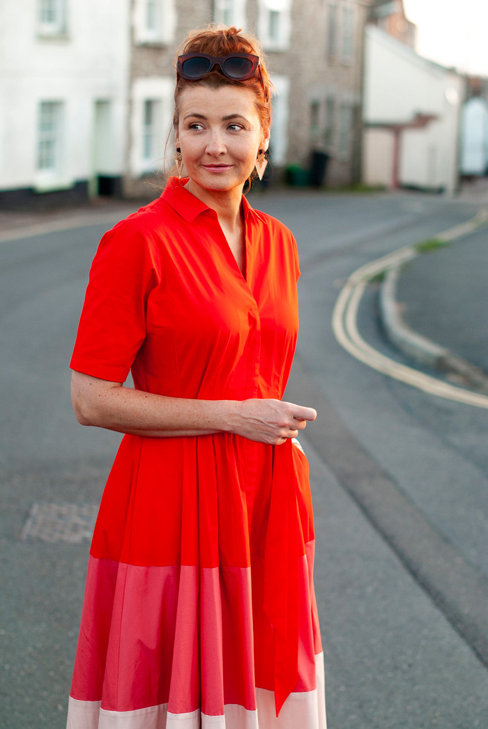 Catherine wearing red dress   40plusstyle.com
