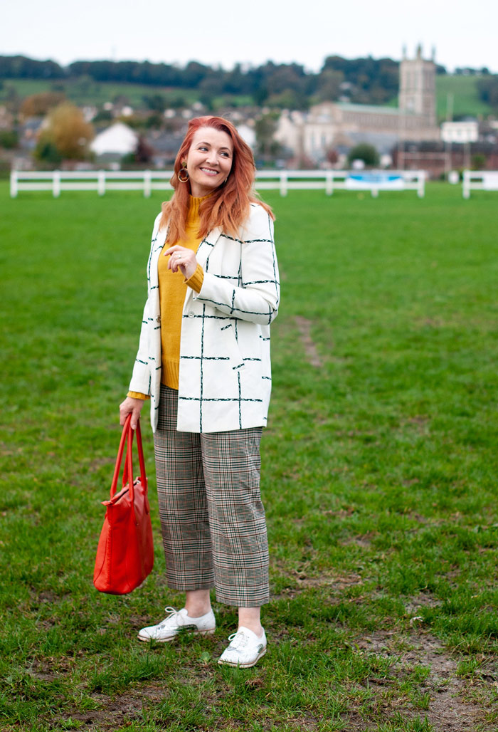 Catherine wearing checkered blazer and trouser | 40plusstyle.com