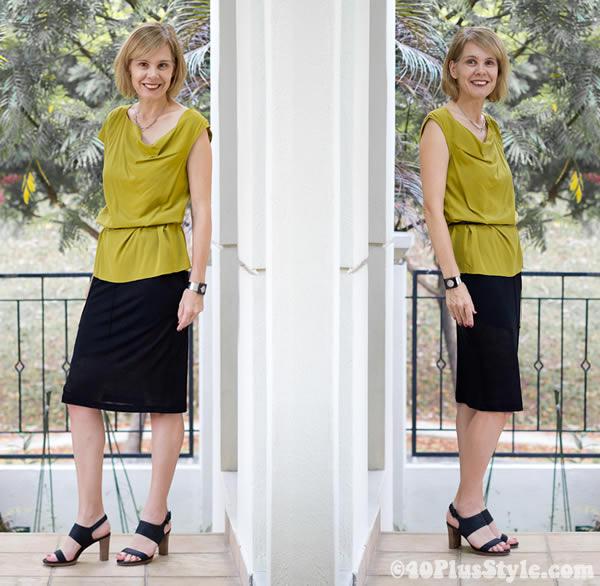 black skirt and mustard blouse