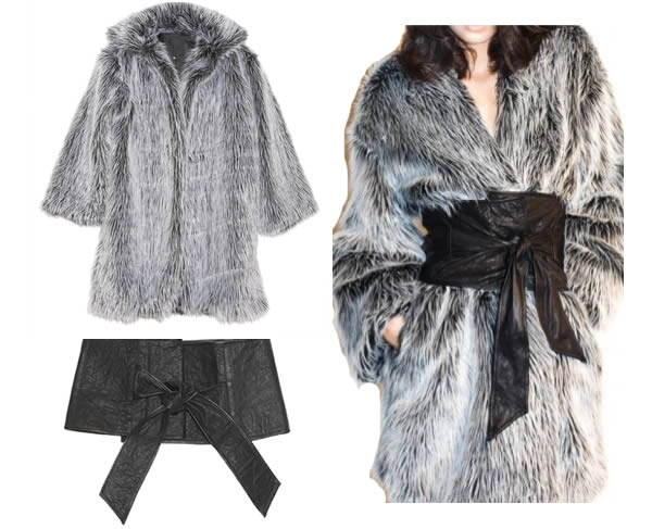 faux fur coat and obi belt