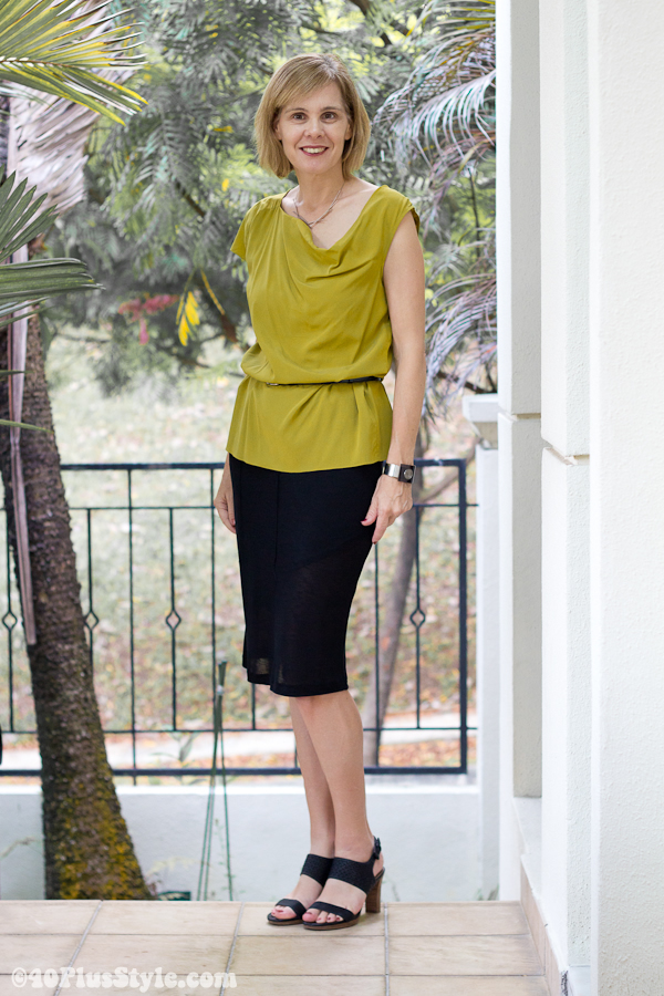 mustard alldressedup top and black sheer skirt