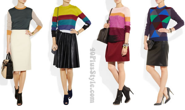 skirts worn with woollen sweaters