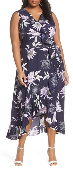 Printed wrap dress - Great for downplaying the bust   40plusstyle.com