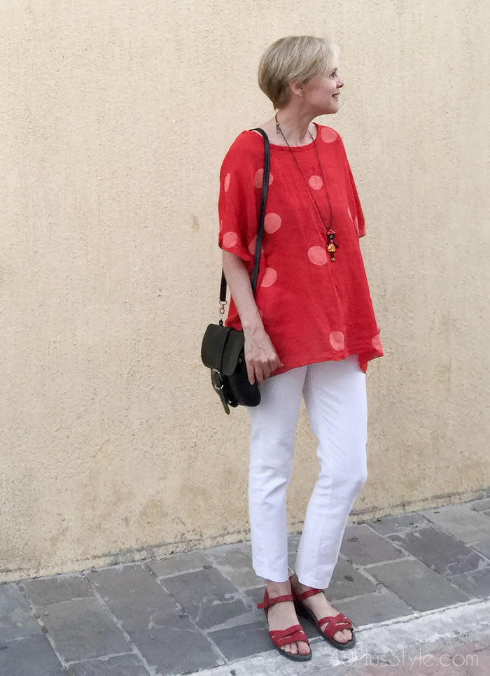 white pants and red top