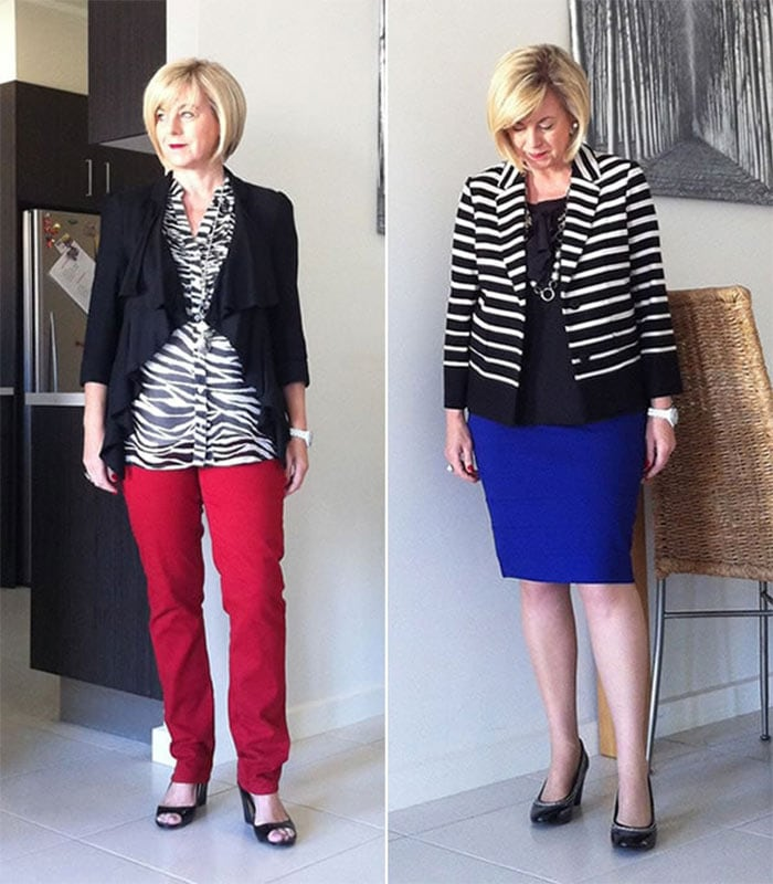Dressing Challenge Results: Black & White & One Colour   40plusstyle.com