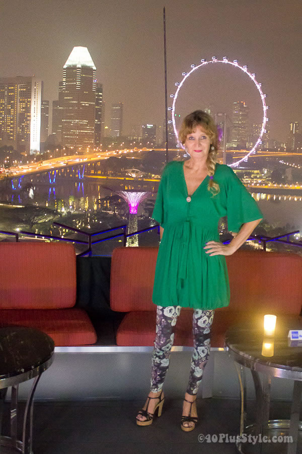 Green tunic and printed leggings   40plusstyle.com