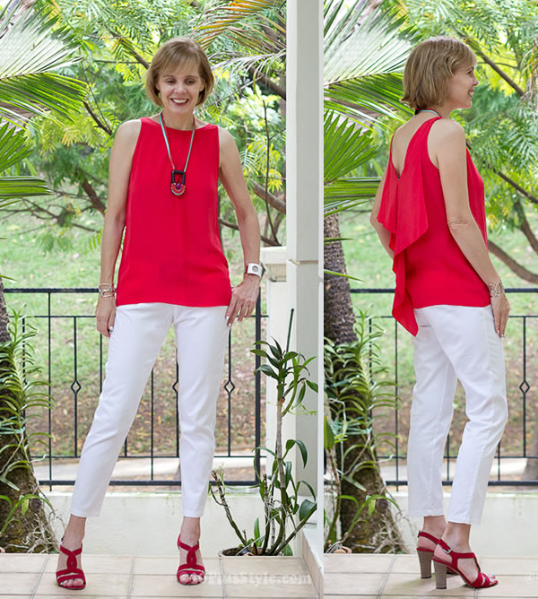 White capris with a red top | 40plusstyle.com