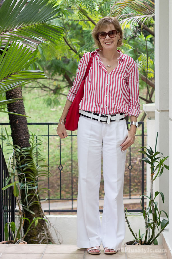 wide leg white trousers with a red and white striped shirt | 40plusstyle.com