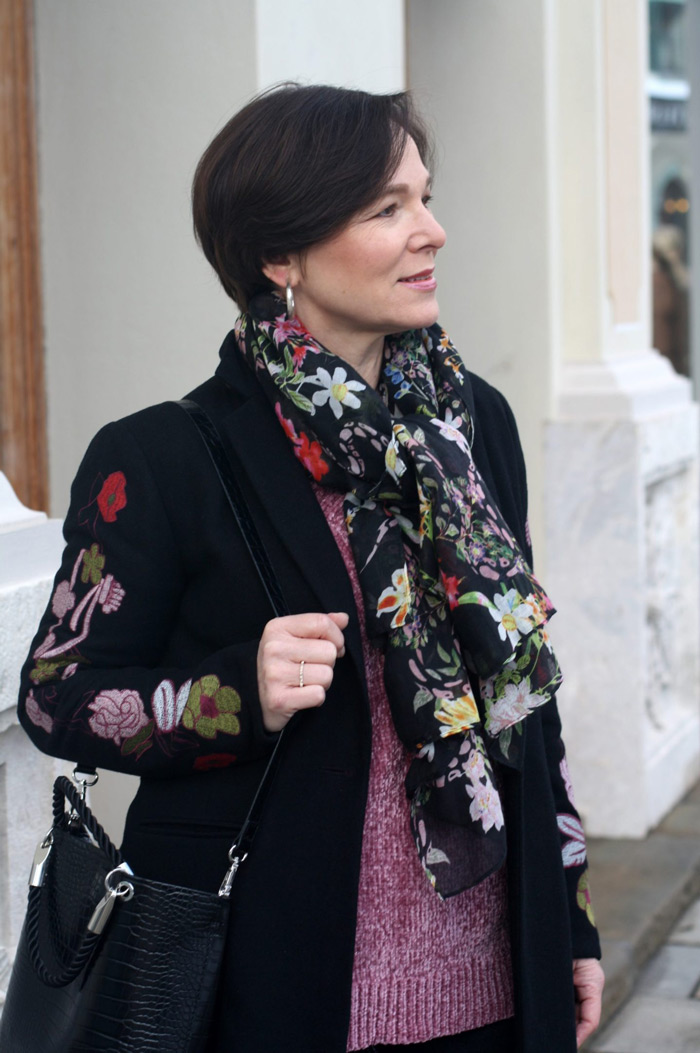Annette Wearing Floral Scarf and Blazer | 40plusstyle.com